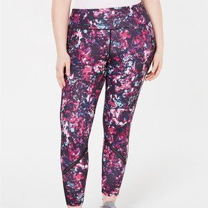 Ideology Plus Size Printed Mesh-Trimmed Leggings
